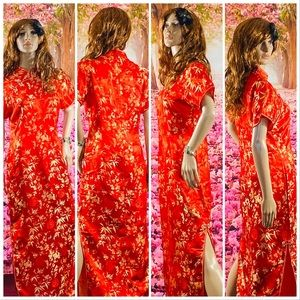 Red And Gold Floral Maxi Qipao Dress